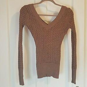 Deep V open knit sweater